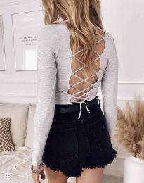 Атрактивна дамска блуза в сиво - код 12062