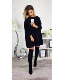 Свободна плетена блуза асиметрична долна част в черно - код 393