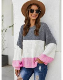 Свободна плетена блуза в розово - код 970