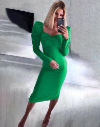 Стилна дамска рокля в зелено - код 3865