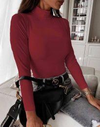 Дамска блуза с поло яка в цвят бордо - код 6087