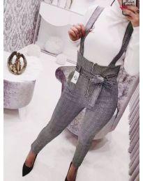 Панталон с висока талия на ситно каре в сиво - код 795