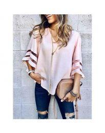 Ефектна дамска блуза в розов цвят - код 3371