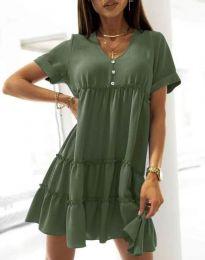 Свободна къса рокля в масленозелено - код 7205