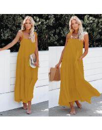 Дълга ефирна рокля в цвят горчица - код 551