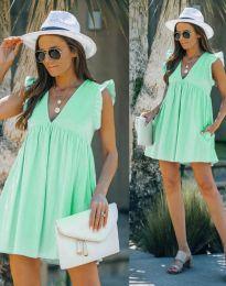 Къса дамска рокля в цвят мента - код 7141