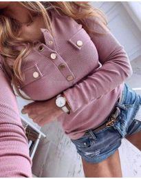 Розова дамска блуза с копчета - код 416