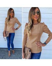 Стилна блуза с набори в бежово - код 368