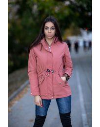 Дамско яке с качулка в цвят пудра - код 6051