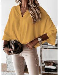 Изчистена дамска риза в цвят горчица - код 5081
