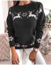 Дамски пуловер със зимен десен - код 1219 - 4