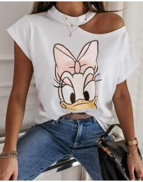 Бяла тениска с принт - код 1044