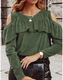 Дамска блуза в маслено зелено - код 4111