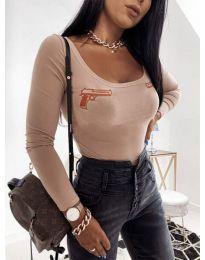 Дамска блуза в бежово с принтове - код 4160