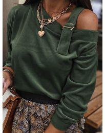 Дамска блуза в маслено зелено - код 280