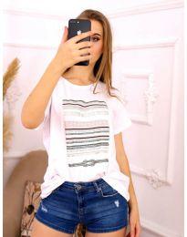 Дамска тениска в бяло с ефектен принт - код 3514