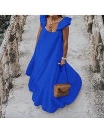 Свободна дълга рокля в тъмно синьо - код 9036