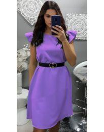 Елегантна рокля с къс ръкав в лилаво - код 703