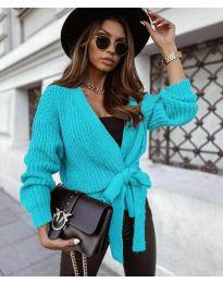 Къса дамска жилетка в цвят тюркоаз - код 2278