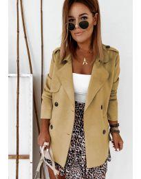 Дамско палто в цвят капучино - код 826