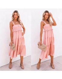 Свободна дамска рокля в розово- код 7791