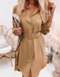 Дамска рокля в цвят капучино - код 7490