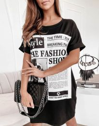 Свободна дамска рокля с принт в черно - код 7775