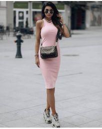 Стилна рокля по тялото в розово - код 754