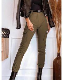 Панталон с джобове в кафяво - код 4842