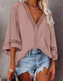 Дамска блуза с дантела в цвят пудра - код 2969