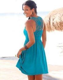 Дамска рокля с ефектен гръб в синьо - код 0254