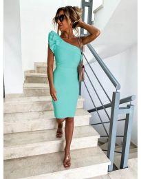 Елегантна рокля в цвят мента с голо рамо - код 710