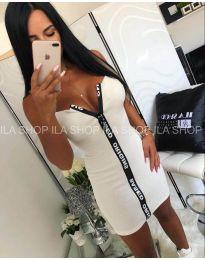 Вталена рокля в бяло с голямо деколте - код 385