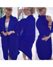 Дамска жилетка  в тъмно синьо - код 8821