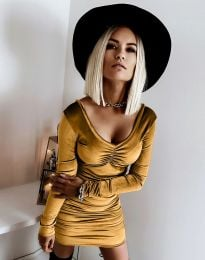 Къса елегантна рокля в цвят горчица - код 12080