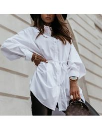 Изчистена дамска риза в бяло - код 2289
