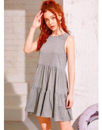 Свободна изчистена рокля в сиво - код 4471