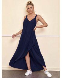 Дълга дамска рокля в  тъмно синьо - код 3083