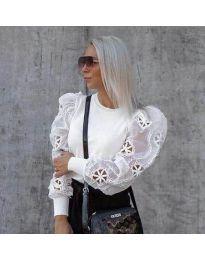 Блуза с ефектни бухнали ръкави в бяло - код 3528