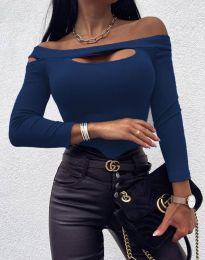 Екстравагантна дамска блуза в тъмносиньо - код 11601