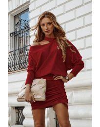 Дамска рокля в бордо  - код 8987