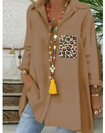 Екстравагантна блуза в кафяво - код 5641