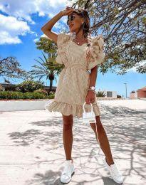 Феерична рокля в бежово - код 2657