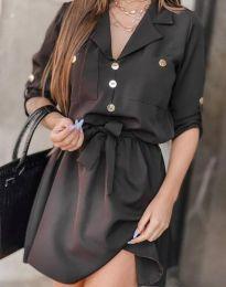 Дамска рокля тип риза в черно - код 4950