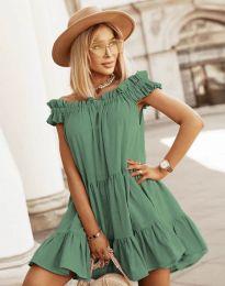 Свободна кокетна рокля в масленозелено - код 6969