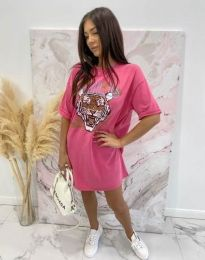 Свободна дамска рокля в розово - код 11864
