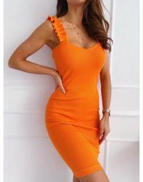 Дамска рокля с ефектни презрамки в оранжево - код 029
