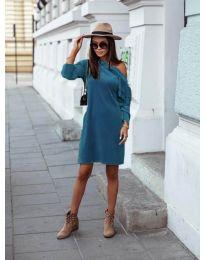 Дамска рокля в цвят тюркоаз - код 8171