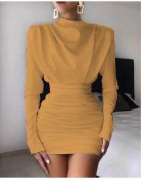 Елегантна дамска рокля в цвят горчица - код 8257