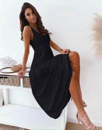 Дълга дамска рокля в черно - код 4807